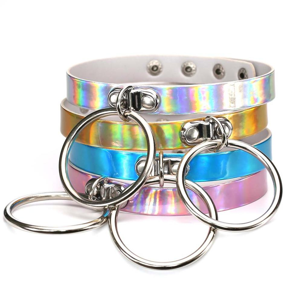 Handmade Punk Fetish BDSM Holographic Choker BIG Fashion Jewelry Silver  Laser Kawaii Rainbow Collar Necklace-in Chain Necklaces from Jewelry    Accessories ...