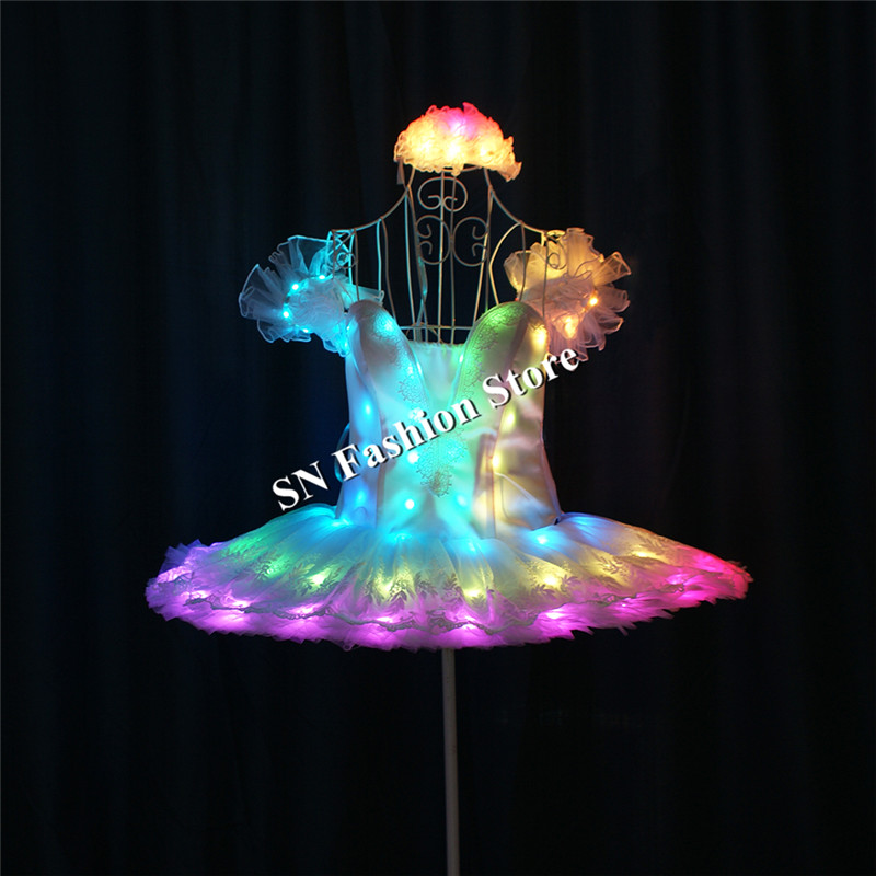TC-190 Programmable led Ballet skirt full color RGB light costumes dance ballroom dresses stage model dj singer wears clothing