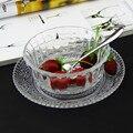 Бесплатная доставка  прозрачная стеклянная чаша + тарелка  маленькая салатная чаша  Набор чашек для варенья/мороженого/десерта