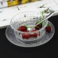Freies verschiffen Transparente glasschale + platte Kleine salatschüssel marmelade/eis/dessertschale gesetzt-in Schalen aus Heim und Garten bei