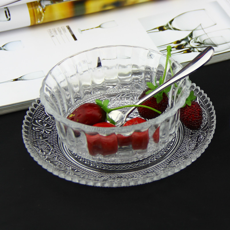 Small Kitchen Dining Sets Corner Sinks For Free Shipping Transparent Glass Bowl + Plate Salad ...