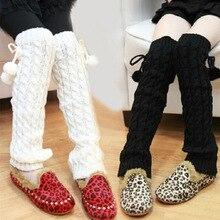 Леггинсы для маленьких девочек Теплые зимние вязаные детские гетры, леггинсы, чехол для обуви