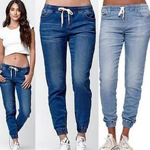 Yfashion Woman Fashion Elastic Lace Up Jeans Casual Lady Girls Water Washing Lantern Pants Trousers for Women Female