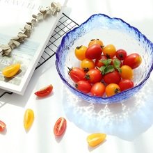 christmas Vertical glass bowls transparent blue  fruit salad bowl dessert soup bowl large tea wash bai lin tong oil soup diet bailingtong oil tang zhengpin lotus soup a bowl of oil stocks blue tea soup page 3