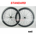 Standard 700c 60mm x 20.5mm Carbon Clincher Road Bike Wheels with Novatec/Powerway Hub, Aluminum alloy brake surface 20 24 Holes