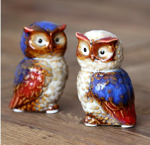 set Owl miniature furnishings 1 pair 2PCS of high temperature color glaze ceramic decoration home statues Home