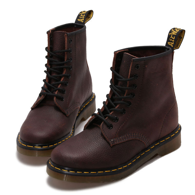 Red Brown Cow Genuine Leather Causal Boots For Women Lace Up Waterproof Low Heeled Womens Shoes Ankle Boots With Platform Heels