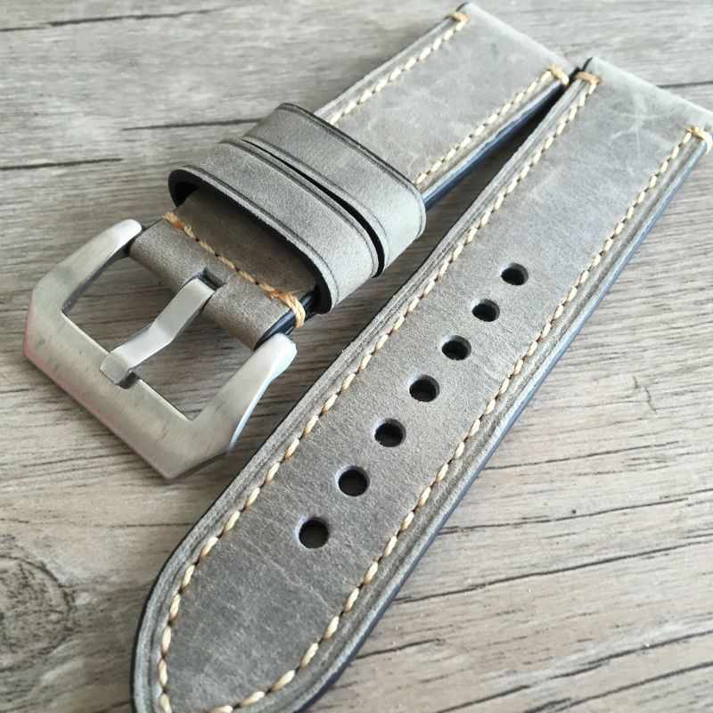 Genuine Leather Watch Band Strap 24mm 22mm 20mm Men Thick Watchbands Bracelet Belt With Metal Buckle Accessories For Panerai zlimsn genuine leather watchband bracelet 24mm 22mm 20mm thick watch strap belt with clasp wristwatch accessories band