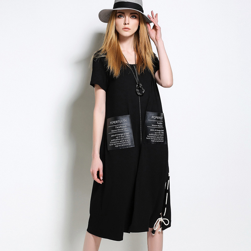 5a3d993c4f Max LuLu Plus Size Fashion European Brand Womens Casual Long Dresses Zipper  Pockets Ladies Summer Maxi Dress Black Vestidos 5XL-in Dresses from Women s  ...