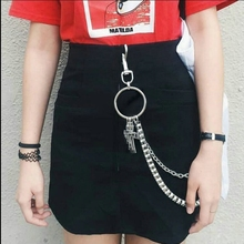 Fashion Punk Hip-hop Trendy Men woman Belt Waist Chain Multilayer Male Pants Chain Hot Jeans Silver Metal Clothing Accessories