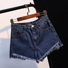 Womens Short Jeans Spring Summer 2018 New Tassel Hem Mid Waist Denim Blue Button Fly With Pockets Shorts Ladies