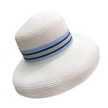 Summer Female Hepburn French Retro Sun Hat Ladies Holiday Beach Shade Wide Brim Straw Fedora Flat top Visor Chapeau