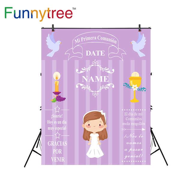 Funnytree 배경 사진 스튜디오 첫 번째 친교 장식 파티 사용자 정의 보라색 소녀 배경 photobooth photocall