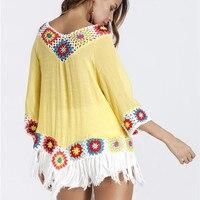 2018 women's clothing brand hot sale boho shirts hook flower design tassel chic cotton long shirts ethic holiday beach tops