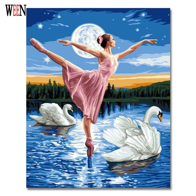 Swan Lake Tari Gambar Lukisan By Numbers Pada Kanvas Handpainted