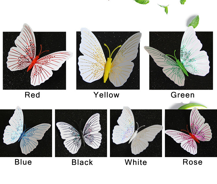 12Pcs/set Ambilight 3D Butterfly Wall Sticker Butterflies home decoration room decor Fridge Magnet wall stickers for wedding HTB1NM1nLFzqK1RjSZFoq6zfcXXaz