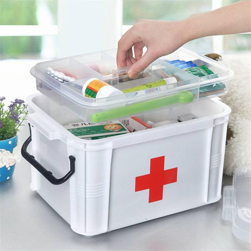 Коробка для хранения аптечка первой помощи наркотиков дома здоровья два слоя Новый