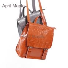Винтажные Разделение кожа крокодила шаблон женщины Bagpack маленькие женские рюкзак высокое качество рюкзак для девочки школьная сумка