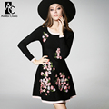 2016 зима весна дизайнер женские платья черный трикотажные онлайн высокое качество розовый цветок вышивка мода brand dress