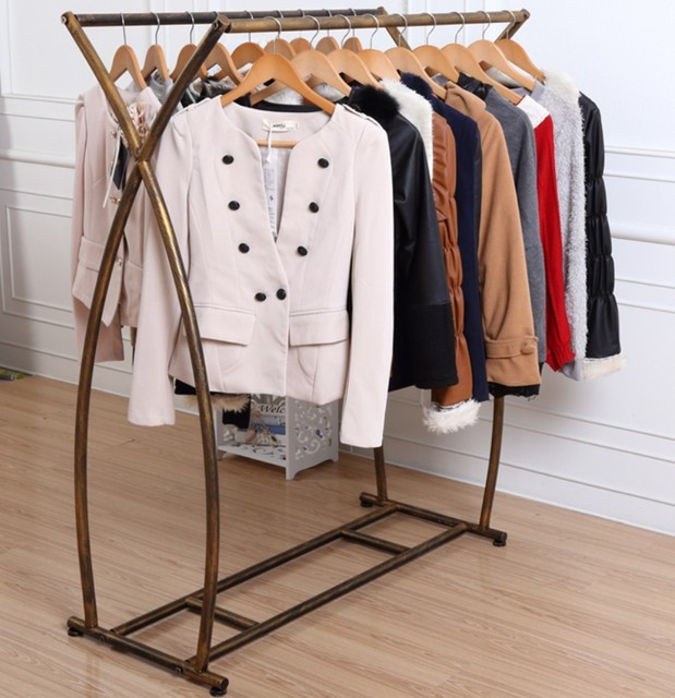 Clothing Store Window Display Iron Clothes Rack Shelf Floor Double Rod Hangers Island