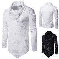 Autumn Winter Men T Shirt Long Sleeve Turtleneck Slim Hole Pullover Irregular Tops Hip Hop Rock