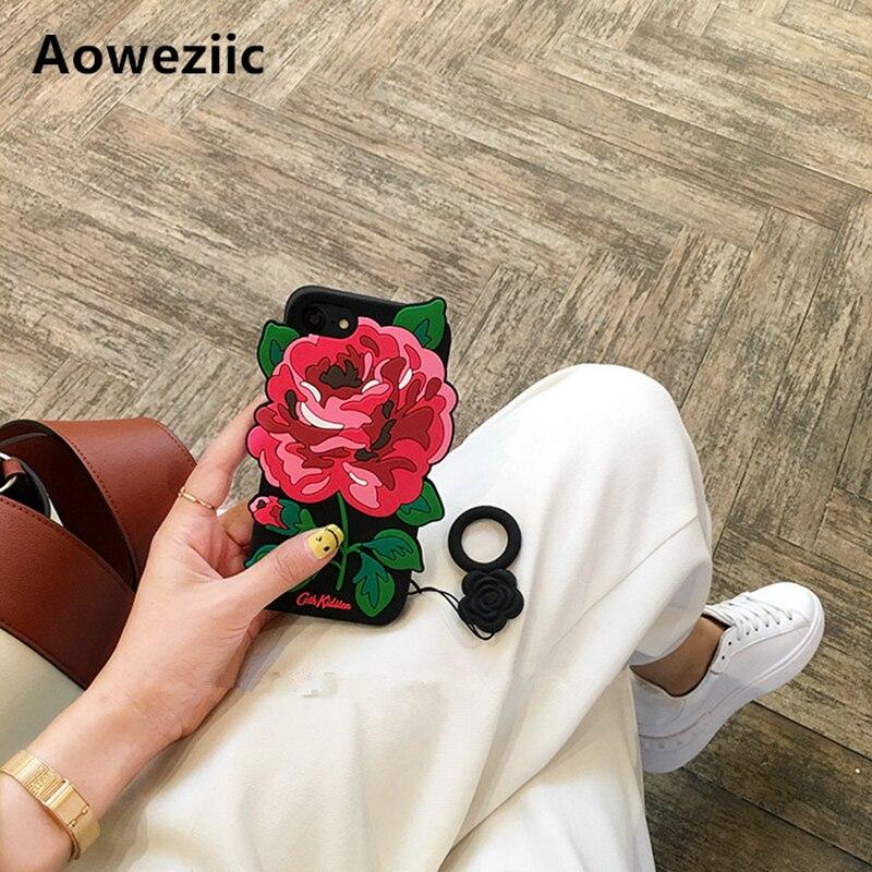 Aoweziic Vacanza vento rosa per iphone 6 s plus mobile phone caso 7 più 8 Più custodia in silicone X 6 s soft shell marea donna