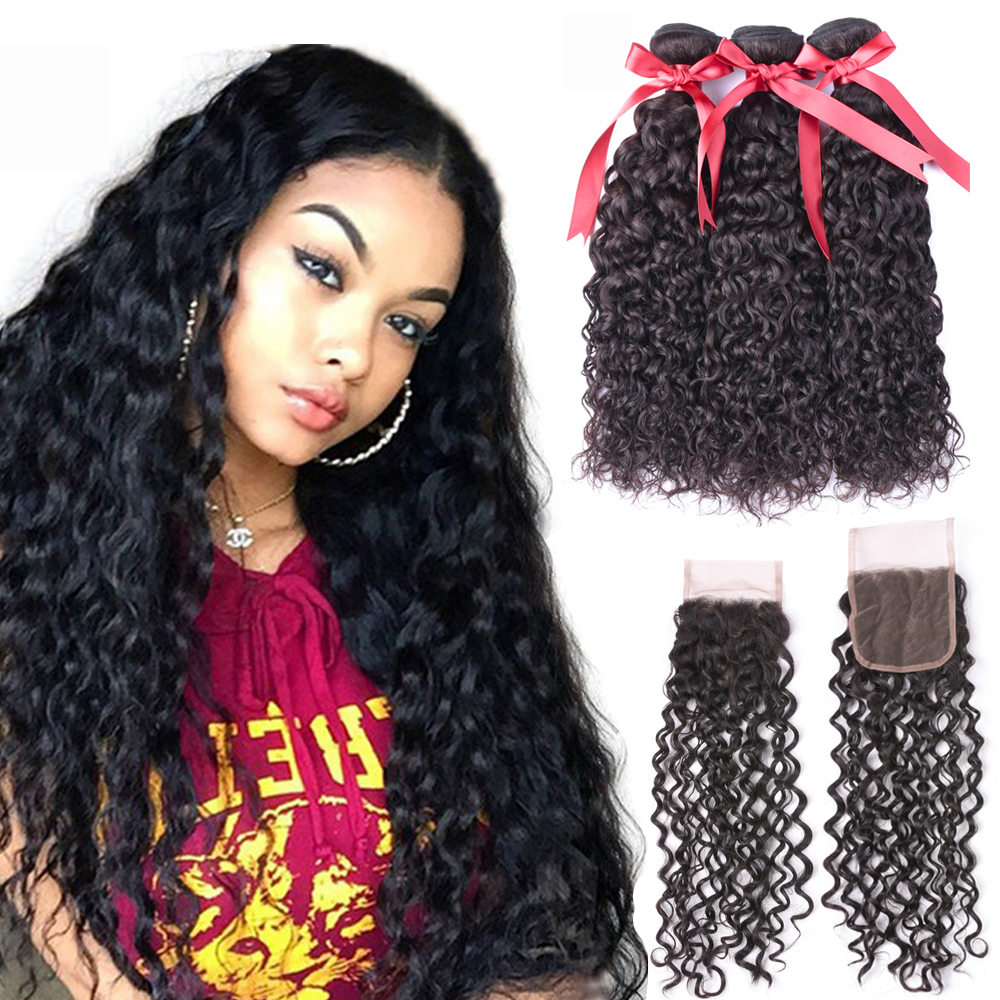Human Hair Weaves 3/4 Bundles With Closure Alipearl Deep Wave Bundles With Frontal Closure Free/three Brazilian Human Hair 3 Bundles With 360 Lace Frontal Closure Remy Elegant In Smell