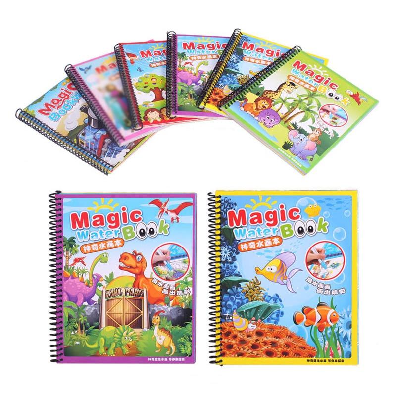 Dessin d'eau magique livre de bébé avec stylo jouet éducatif bébé animaux peinture écriture Doodle tissu enfants livre planche à dessin