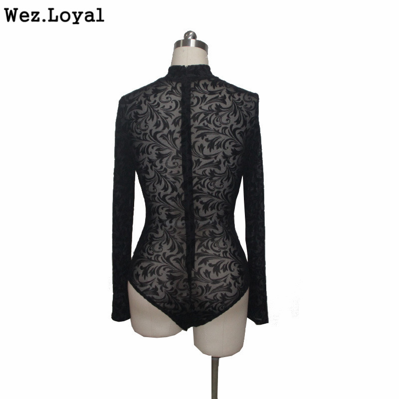 89d3ae731c Loyal 2018 Womens Skinny Bodysuit Floral Printed Lace Bodysuits Black High  Neck Long Sleeve Mid Waist Sexy Bodysuit Rompers-in Bodysuits from Women s  ...
