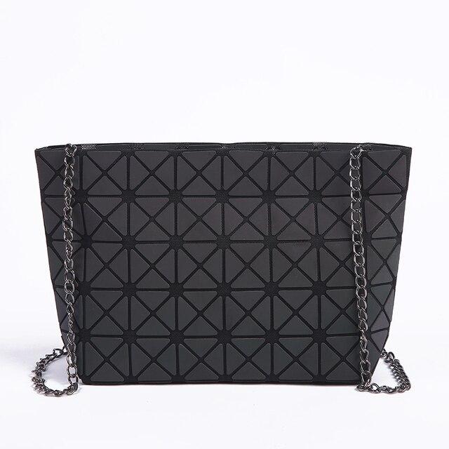 New Women Chain Shoulder Bag Luminous sac Bao Bag Fashion Geometry Messenger Bags Plain Folding Crossbody Bags Clutch bolso 1