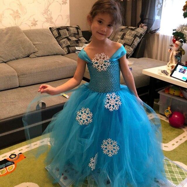 6f61029c2223 Снежное Хлопковое платье-пачка принцессы Эльзы, зимнее голубое платье-пачка  на ...