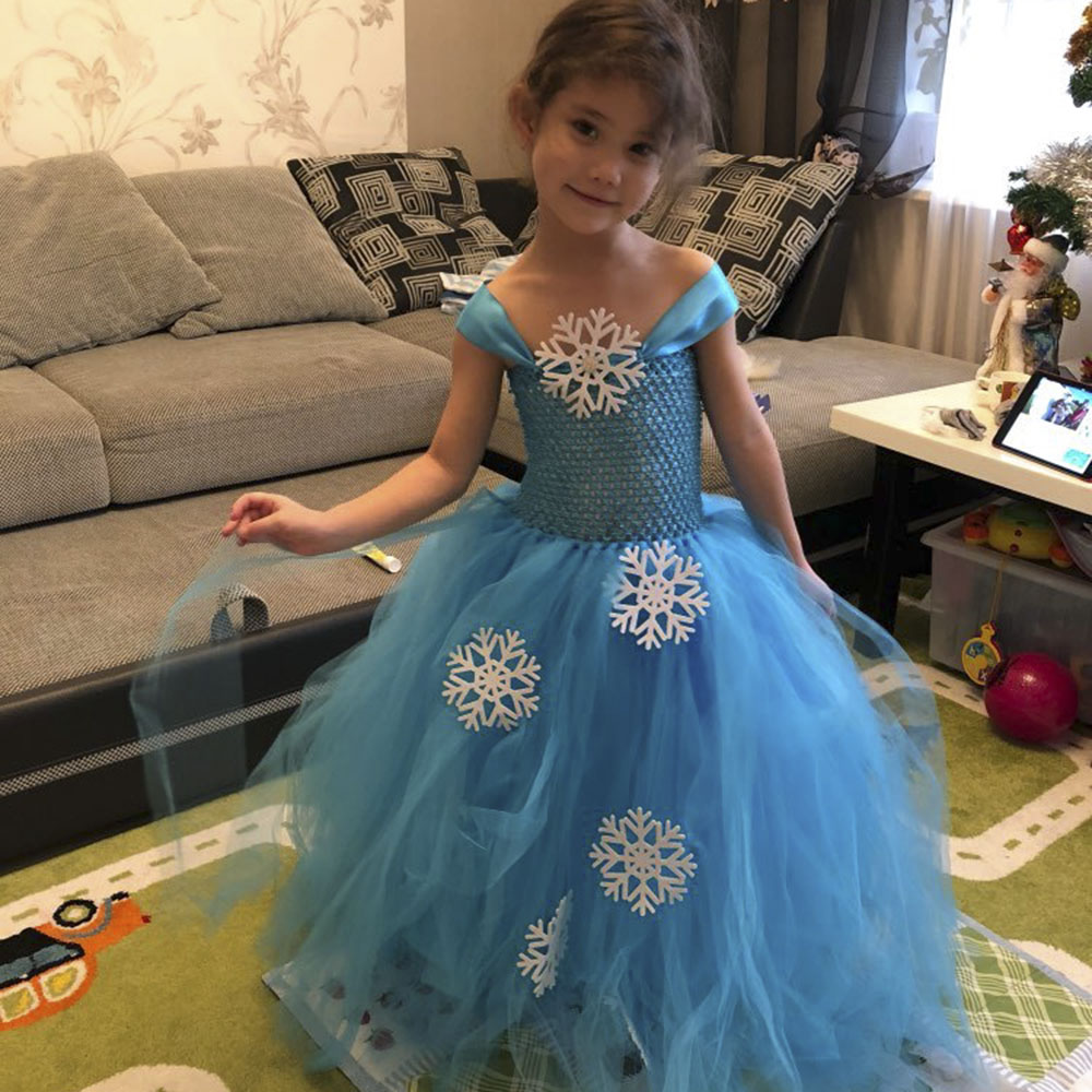 Snow Flake Princess Elsa Tutu Dress Winter Baby Girl Blue Birthday Party Tutu Dresses Kids Halloween Christmas New Year Costume christmas halloween princess dress cosplay snow white dress costume belle princess tutu dress kids clothes teenager party 10 12