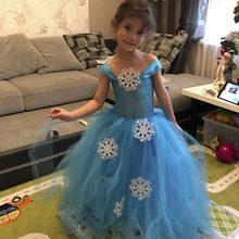98772574b3df6 Flocon de neige Princesse Elsa Tutu Robe D hiver Bébé Fille Bleu Fête  D anniversaire Tutu Robes Enfants Halloween Noël Nouvel An..