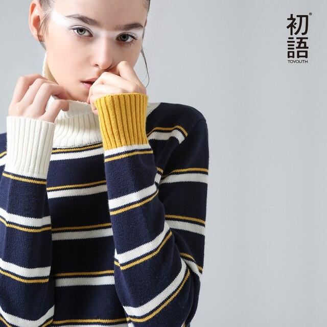 Toyouth Sweater Winter New Fashion Stripe Women Long Sleeve Slim Casual Turtleneck Pullovers Sweaters