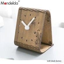 Mandelda Brief Vintage Folding Wall Clock Novelty Quartz Wooden Moistureproof Environmental Bracket Home Decor Promotion
