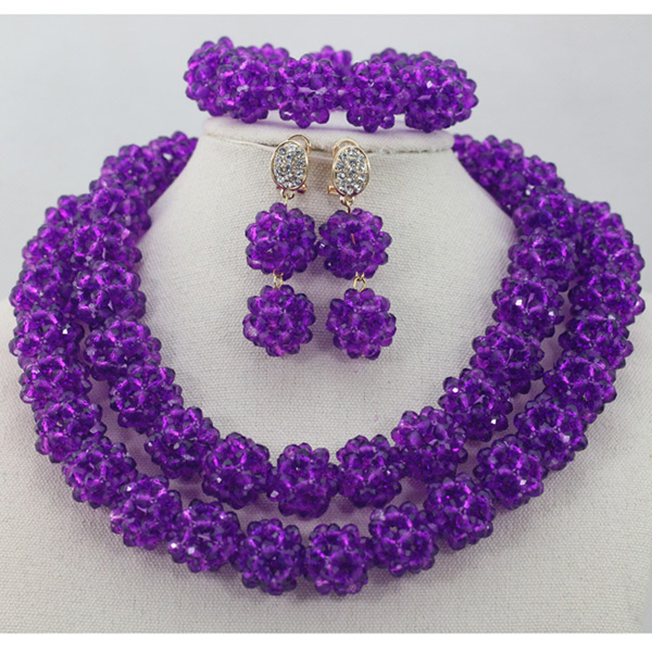 Nigerian Wedding Gifts: Nigerian Wedding African Beads Jewelry Set Purple Crystal