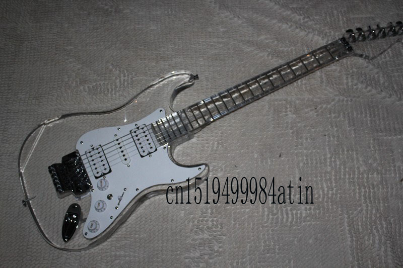 Transparent led inlay Electric plexiglass crystal acrylic Guitar with tremolo Electric Guitar @16
