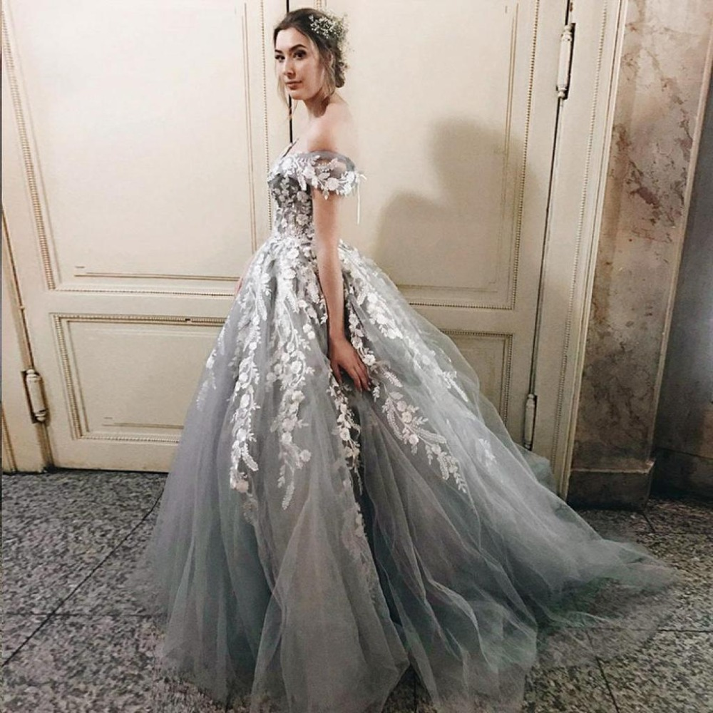 Off the Shoulder   Evening     Dress   Long 2019 Tulle with Lace Appliques Elegant Prom Party Gown Backless Robe De Soiree Formal   Dress