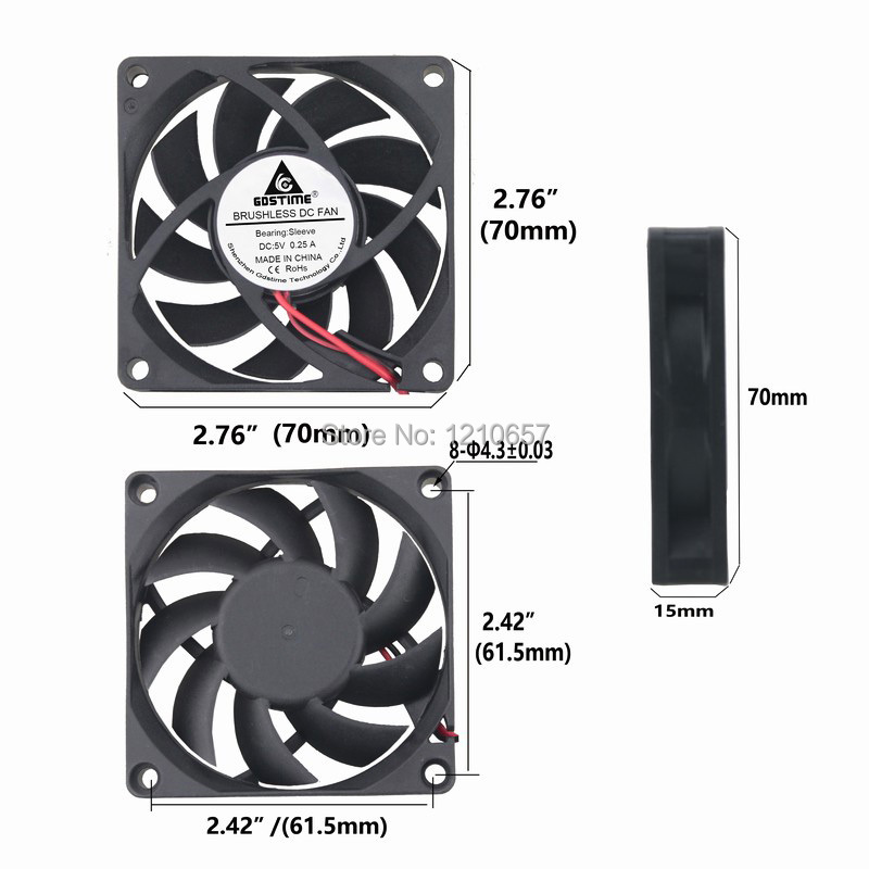 10 Pieces LOT Gdstime 70MM 70 x 70 x 15mm 2Pin 5V DC Brushless Cooler Cooling Fan 20 pieces lot gdstime 40mm 40 x 40 x 10mm 4010s dc 12v 2p brushless cooler cooling fan