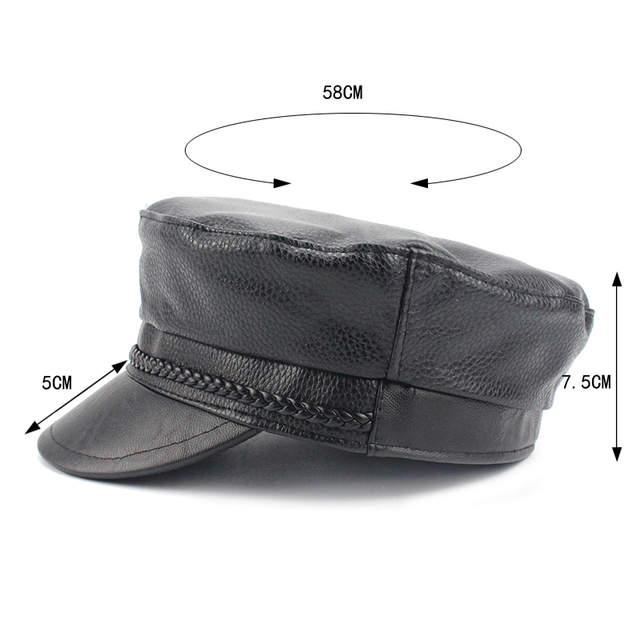 bbc60d83b Fashion PU Military Hats Faux Leather Casual Thermal Men Army Hat Short  Brim Cadet Adult Cap Women Bone Female Berets Gorras