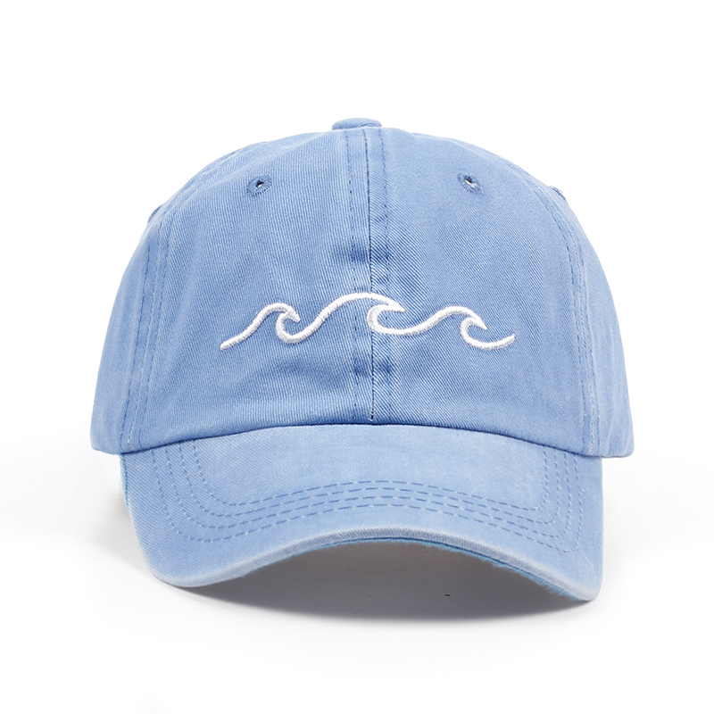 2017 hot sale Sea wave embroidery unisex baseball cap cotton adjustable fashion baseball hat women men