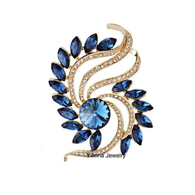 B350619 New pretty colors blue round crystal leaf brooch zinc aloy rose gold plated with Austria crystal fashion women jewelry