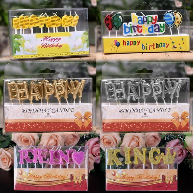 Happy Birthday Candle Cartoon Party Cake Creatives Wax Candles Decorations Princess King Letter Baby Supplies