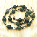 Stone Necklace Moss Agate Stone 12mm Bead Necklace Sweater Necklace Gift choker Necklace Jewelry