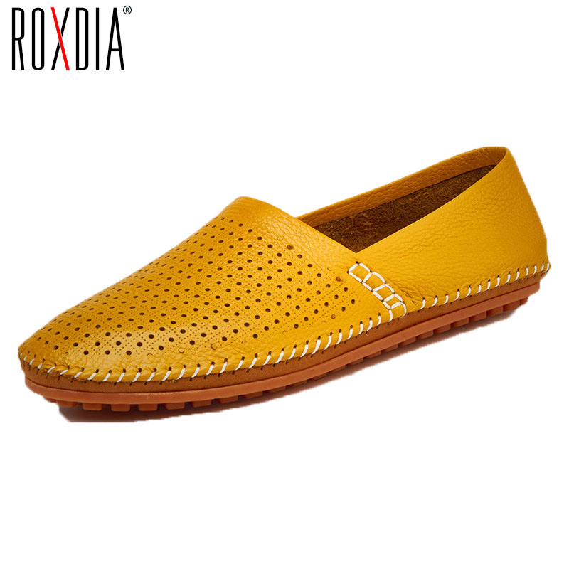 ROXDIA plus size 39-47 summer genuine leather breathable casual men loafers new fashion men's driving shoes man flats RXM035 genuine leather men casual shoes summer loafers breathable soft driving men s handmade chaussure homme net surface party loafers