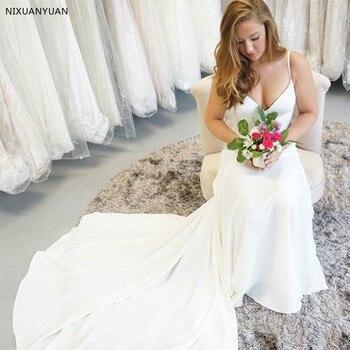Tirantes finos vestidos de novia simples cuello en V sin mangas diamantes fajas cubierto botón espalda blanco marfil vestido Da Sposa 2020