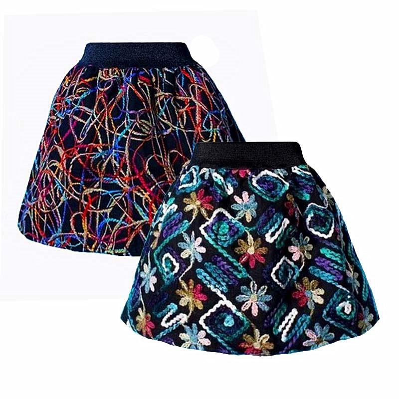 2018 New Spring Summer Skirt Saia Womens Tutu Midi Skirts Lady Elastic Waist Knitting Crochet Embroidery Puff Skirts Womens