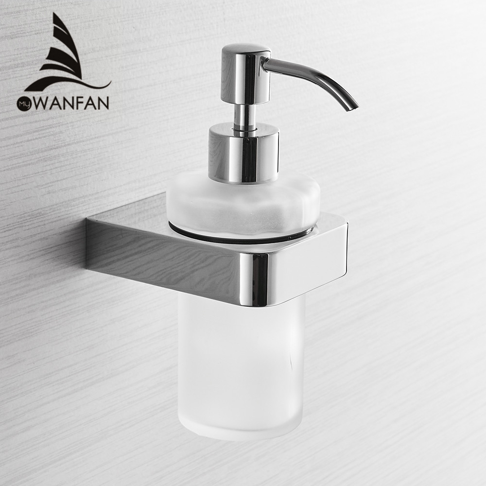Liquid Soap Dispensers Chrome Color Soap Dispenser Wall Mounted With Frosted Glass Container Bottle Bathroom Products 5781