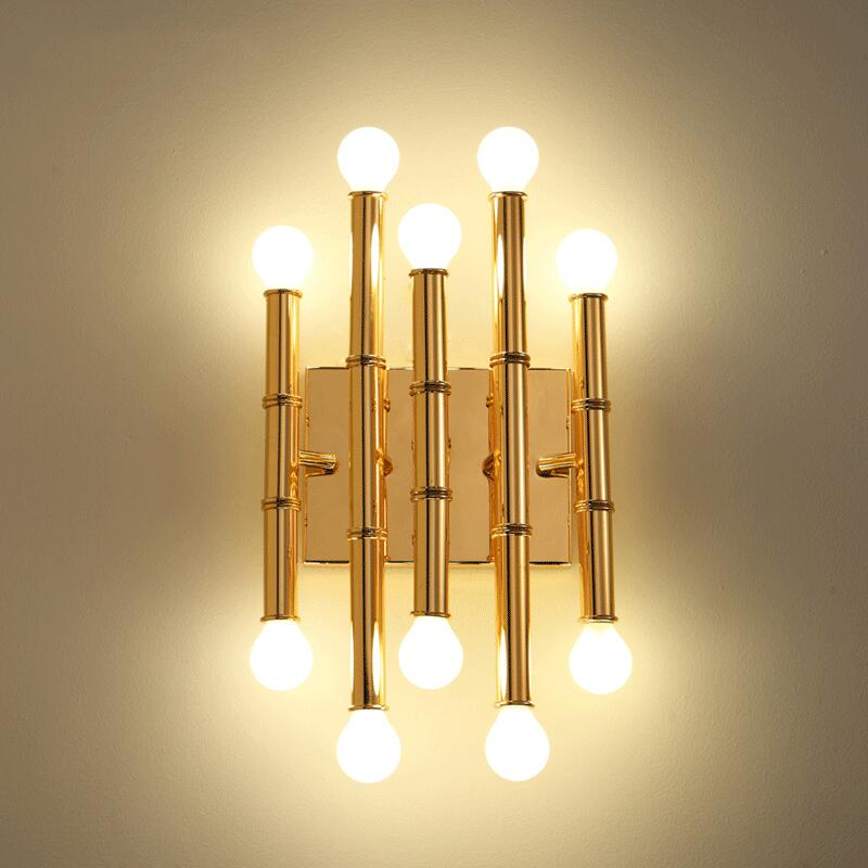 American simple bamboo wall lamps creative personality post-modern living room bedroom bedside lamp hotel aisle study wall light modern american country retro mirror front wall light creative bedside bedroom living room study long arm wall lamp