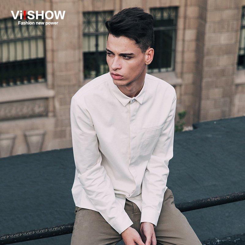 VIISHOW Camisa Masculina dos homens da Marca Dos Homens Slim Fit Camisa  Blusa Base de Manga longa Camisas Dos Homens para Homens Roupas Plus Size  S-5XL b558acf22e